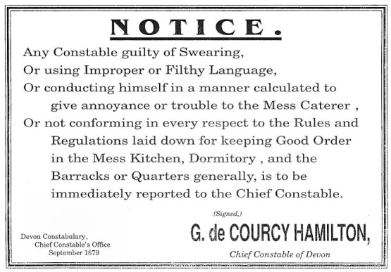 A notice from Devon Constabulary in 1879, advising the punishments for filthy language