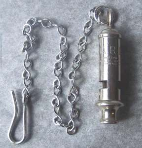 Air Raid Precaution whistle, inscribed A.R.P. J. HUDSON & CO. BARR ST. HOCKLEY BIRMINGHAM. Catalogue number 1975.00285
