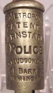 Whistle; Barnstaple Police; no chain; stamped: