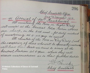Sowerby's handwritten General Order from 2nd December 1913, ahead of the arrest of Emmeline Pankhurst