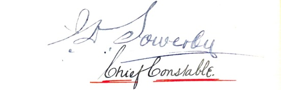 Chief Constable of Plymouth Borough Police, J.D. Sowerby's signature. As included in the 1907 - 1916 Plymouth Borough General Orders book. Catalogue number: 2004.03585