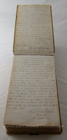 Cornwall County Constabulary, first General Orders book (1857). Catalogue number: 1975.00368.001
